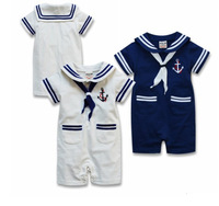 Baby Sailor Rompers Baby Boy Short Sleeve White Blue Jumpsuit Baby Clothing For Summer Wear