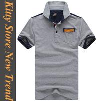 2014 summer hot short sleeve turn-down collar men's tshirts casual slim men t-shirts white/red/navy/grey M/L/XL/XXL