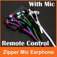2014 Tops Fashion High Quality Zipper Earphones 3.5MM in-ear Stereo Headphones Headset For iPhone 5 iPad iPod Samsung S4