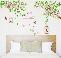 Hibiscus flowers  frame photoes wall sticker/ removable plante  sticker/DIY home decoration 70*170cm 072545