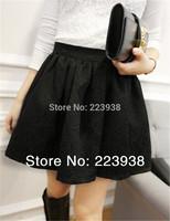 New 2014 Fashion Women Skirts Embossed Small Jacquard Involucres High Waist Elastic Black Mini Short Skirt