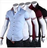 Men Shirt Roupas Camisa Polo Masculina Social Slim Fit Short Sleeve Dress Shirts Poleras Imported Men Clothes Denim Casual Shirt