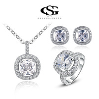 G&S Fashion Crystal CZ round Set Gift Girlfriend 100% Hand made Fashion Jewelry platinum Ring+Necklace+Earrings 107042