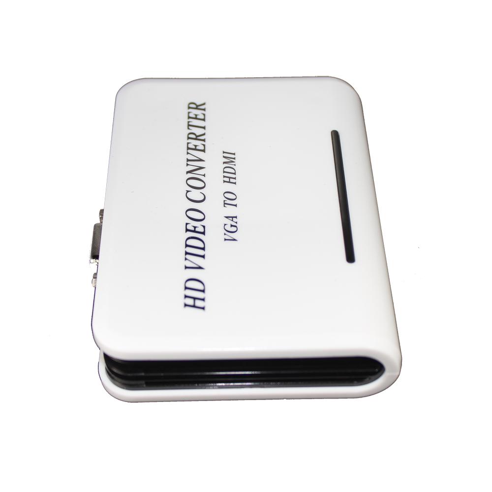 HOT SALE!1080P PC Laptop VGA Analog to HDMI HDTV Video Audio Converter Box Adapter White(China (Mainland))