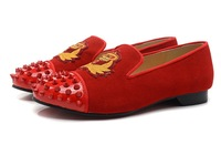 2014 all red with red rivets men flat cusual shoes red bottom sneakers for men shoes size 39-46