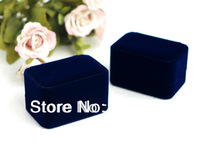 "free ship EMS luxury blue velvet Couple Rings/earings rectangle box/case 75*50*45mm/2.95""*1.95""*1.8"" packing wedding gift box"