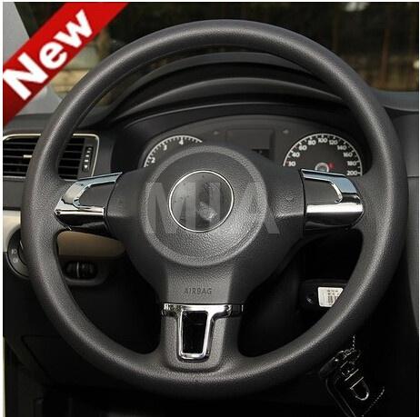 Steering Wheel car sticker for Volkswagen VW GOLF 6 MK6 POLO JETTA MK5 MK6 bora ABSChrome trim accessories(China (Mainland))