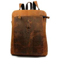 2014 New Vintage Croco Genuine Leather Cowhide Crazy Horse Leather Men Women Backpack Backpacks Shoulder Bag Bags For Women 1226