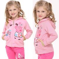 spring and autumn new peppa pig girls cotton hoodies, children long sleeve sweatshirts Blusa Moleton casaco roupas infantil