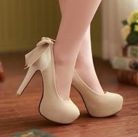 Drop shipping New Fashion Cute Bow Red Bottom High Heels Stiletto Platform Pumps Women's Shoes Big Sz