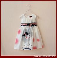 Girls summer clothing baby bow belt little girl sleeveless tank dress one-piece dress C0083