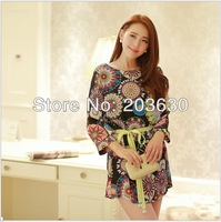 Spring 2014 New Full Sleeve Ladies' Dresses Women's Sexy Dresses Floral Chiffon Fashion Long Vestidos Plus Size free shipping