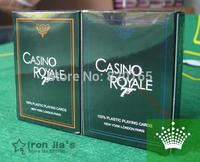 CASINO ROYALE New Frosted Plastic Poker Texas Poker Hot-selling 2PC(Blue+Orange) Wholesale