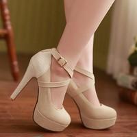 Fashion Sexy Ankle Strap Red Bottom High Heels Platform Pumps Shoe Women's Wedding Shoes Sz