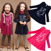 2014 NEW fashion cotton girl dress long sleeves baby girl princess dress girls cartoon owl casual clothes