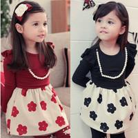 Retail 1PCS new 2014 Girls dress spring children clothing girls long sleeve flower dress Lovely Hot Kids Girls Dress 1-6Y