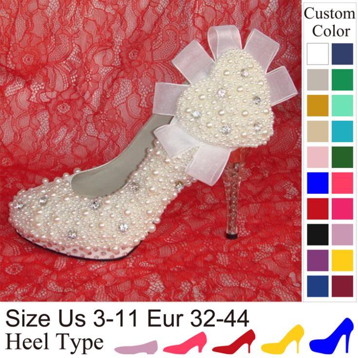 Crystal high heel Pearl Rhinestone Silk bridal wedding shoes White Bridemaid party shoes Women pumps Handmade Customized(China (Mainland))