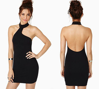 2014 new arrival fashion sexy backless strapless sleeveless turtleneck tube top slim hip halter-neck one-piece dress