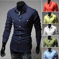M-XXL, 2014 New Fashion Hot Sale Men 3  Colors Stylish Slim Fit Dress Shirt Leisure Shirt Linen shirt