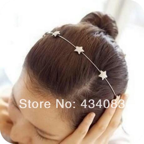 cheap 2014 new hair accessory elegant five-pointed star full rhinestone hair bands rhinestone headband sweet bow accessories(China (Mainland))