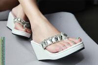 Hot sale summer women sandals female fashion slippers rhinestone paillette high-heeled platform wedges flip flops free shipping