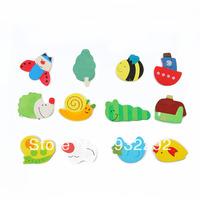 2pc/lot Kids Baby Wood Educational Learning Cartoon Fridge Magnet Mini Toy Animal 12 pcs Free shipping &Drop shipping