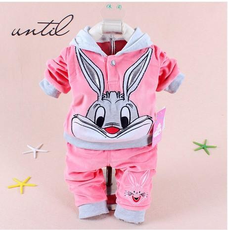 2014 Spring baby set cartoon rabbit velvet set twinset long sleeve set hoodie and pant children clothing free shipping(China (Mainland))