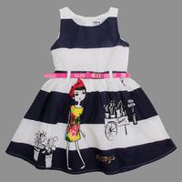 2014 new girl print dress brand nova kids wear clothing girls stripe summer dress