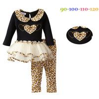 Hot Sale 2014 NEW  Children Girl Clothing Set  Long Sleeve Leopard grain Striped T Shirt+Pants Girl Suit ATZ089