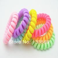 Quietly elegant pure color cloth art telephone line hair bands south Korean children's hair accessories tire bracelet