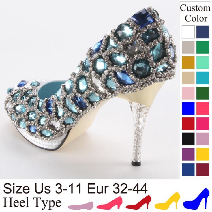 Crystal high heel Glitter Blue Turquoise Rhinestone Stone White wedding shoes Banquet shoes Women pumps Handmade Customized(China (Mainland))