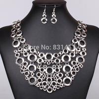 Vintage Silver Bohemian Metal Rings Choker Necklace and earring Set Women Fashion Jewelry 2014