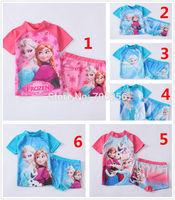 Free shipping  girl girls SUV sun protection anti-uv swimwear bather t shirt short 2pcs sets RT48