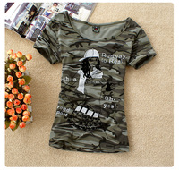 2014 summer outdoor women's military wind Camouflage short-sleeve T-shirt female slim basic shirt female