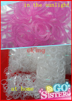 DIY Bracelet 600 UV Color Changing Pink Rubber Bands with 'S' Clips, In Sunlight The Color Changes Loom Bands
