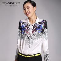 Blue 2014 spring women's shirt female slim floral print shirt female casual all-match shirt female