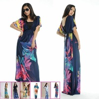 E0666 Women Summer Fashion sexy V-Neck Floral Printing Ice silk dress Large Size Bohemia beach Long dress hot selling