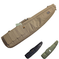 Tactical Airsoft Paintball Hunting Shooting Rifle Gun Carbine Shotgun Cushion Padded Slip Bag W/ 4 Mag pouches Carry strap