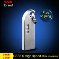 Ssk Thumbs USB 3.0 large usb flash drives pen drive 100% 16GB 32GB Metal high speed  usb flash drive waterproof  Free shipping