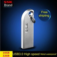 Ssk Thumbs USB 3.0 large usb flash drives pen drive 100% 16GB 32GB Metal high speed  usb flash drive waterproof  Free shipping