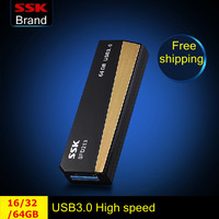 Ssk SFD213 USB 3.0 100% 64G 32GB 16GB usb flash drives pen drive push and pull type high speed usb flash drive Free Shipping