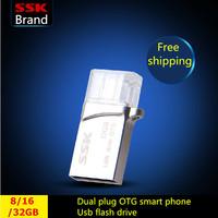 SSK Xiao Yi 100% 32GB 16GB 8GB OTG MINI Smart phone usb flash drives pen drive Tablet PC Dual plug metal OTG usb Free shipping