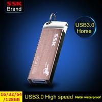 Ssk SFD223 Horse edition USB 3.0 100% 128GB 64GB 32GB 16GB USB flash drives pen drive High speed metal waterproof  Free shipping