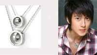 Free lettering fashion classic silvery titanium steel Love round pendant necklace men women unisex jewelry