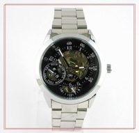 Fashion Business Watches White Round Dial Black Stainless Steel Band Automatic Mechanical Wrist Watch