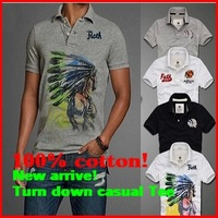 2014 New arrive Free shipping,  fashion style men 100% cotton Turn down casual summer short Tee T-shirt
