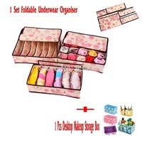 Home Storage 1 Set Folding Drawer Containers  Underwear  Bra Socks Box  Ties Organiser +1 Pcs Desktop Cosmetics Makeup Organizer
