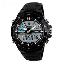 Free shipping Sports Military Watch Fashion Casual Dress Wristwatches 2 Time Zone Digital Quartz LED Watches Men's Wrist watch
