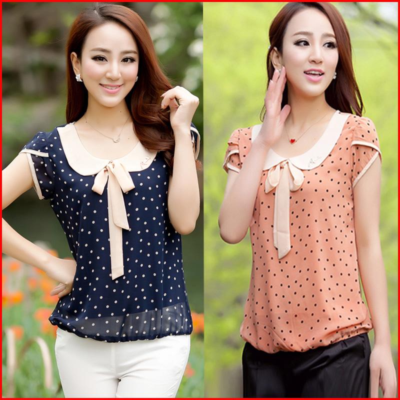 Blusinha feminina manga curta para o verão com estampa de bolinhas e laço fashion em chiffon, blusas femininas 2014 tamanho M - GGG(China (Mainland))