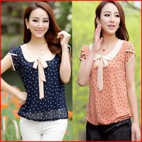 Hot Sale Short Sleeve Polka Dot Print Chiffon Blouses Women Fashion blusas femininas 2014 Summer Plus Size M-XXL